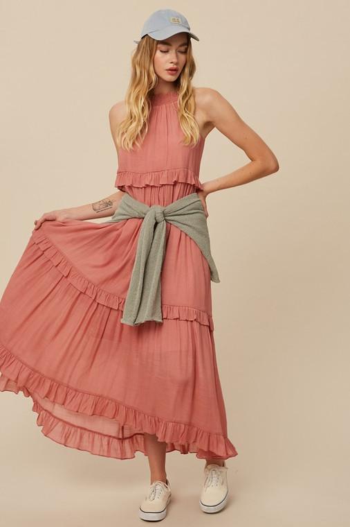 Listicle Rose Textured Woven Halter Neck Ruffle Pocket Maxi Long Dress