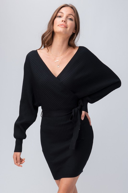 ScarvesMe Black Smooth Solid Color Long Sleeve Sweater Wrap Dress with Belt
