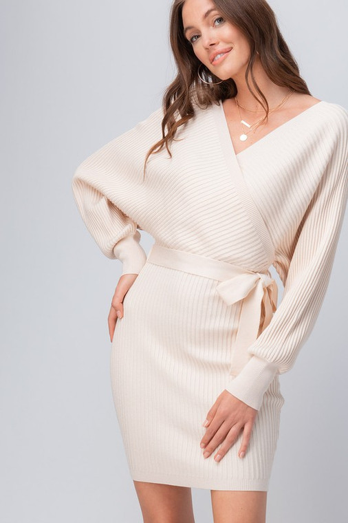 ScarvesMe Butter Smooth Solid Color Long Sleeve Sweater Wrap Dress with Belt