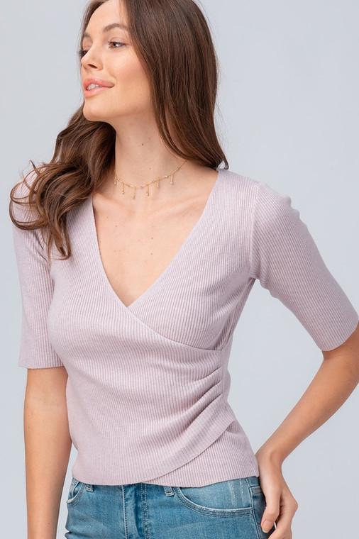 ScarvesMe Trendy Classic Basic Fun Soft Rib Knit Surplice Lilac Blouse Top