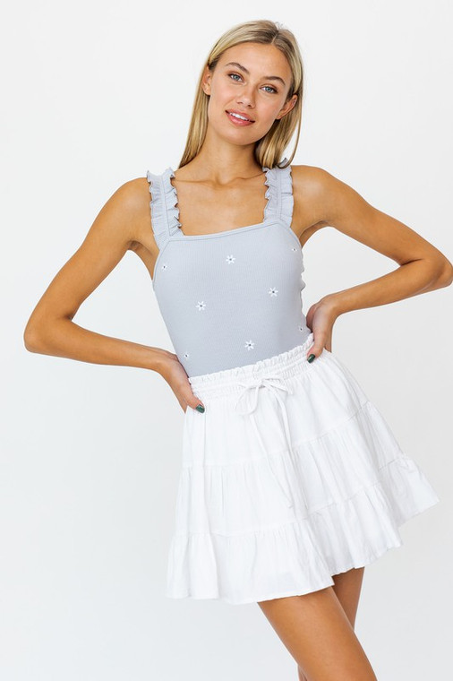 LE LIS Cool Gray Embroidery Stretch Flower Bodysuit with Adorable Ruffle Strap