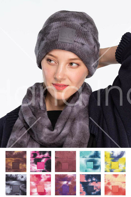 C.C Exclusive Tie Dye Color Knit Winter Warm Beanie Hat with Rubber Patch