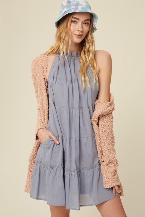 Blue Textured Cotton Halter Neck Tiered Dress