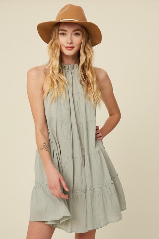 Sage Textured Cotton Halter Neck Tiered Dress