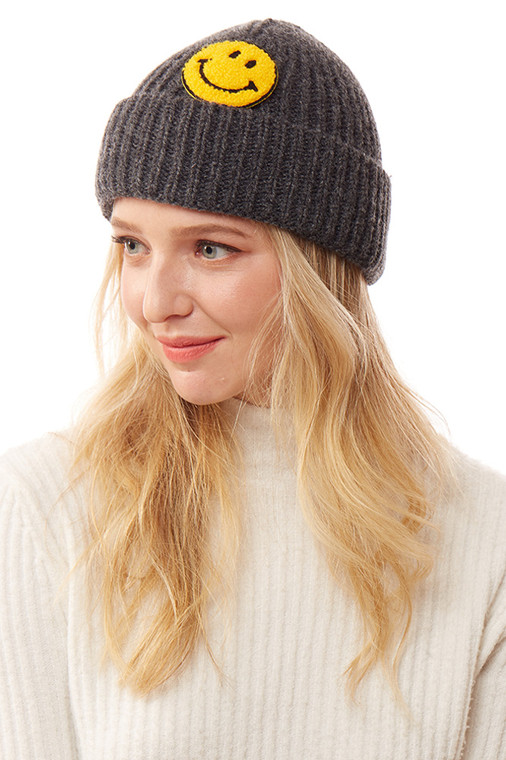 SMILE PATCH SOLID KNITTED BEANIE-LOH169-CHARCOAL