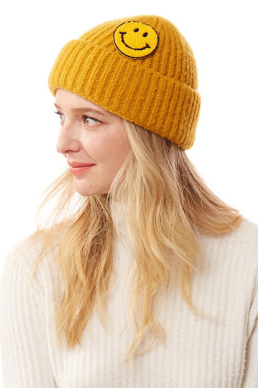 SMILE PATCH SOLID KNITTED BEANIE-LOH169-MUSTARD