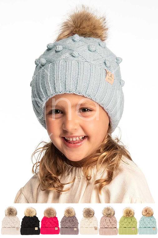 C.C BOBBLE BEANIE KIDS HAT-KIDS-3836