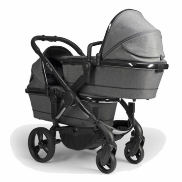 Icandy Peach Twin Grey Twill Chrome Double Pushchair - New 2020 Colour