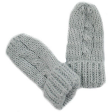 Baby Winter mittens in grey, Cable knitted baby mitts