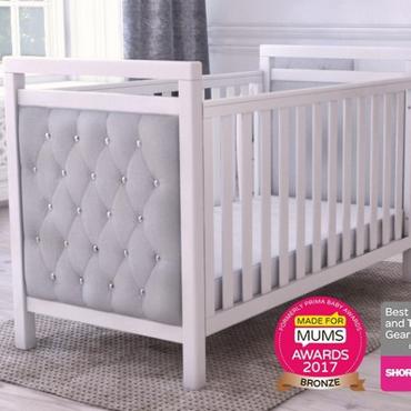 velvet luxury cot bed - grey and white