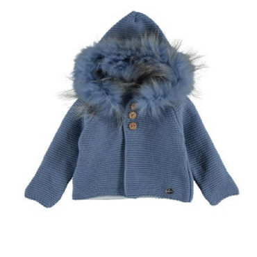 Juliana Designer Baby Fur Knitted Jacket in Blue
