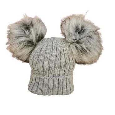 Grey Double fur Faux Pom Pom Hat