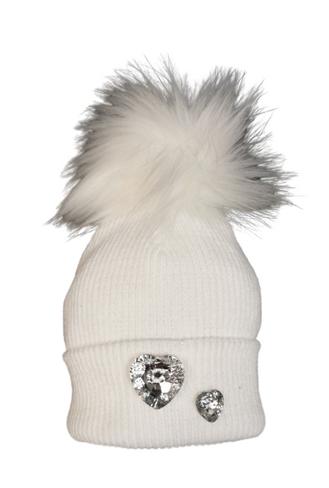 Diamond Heart Baby Girls Pom Pom Hat