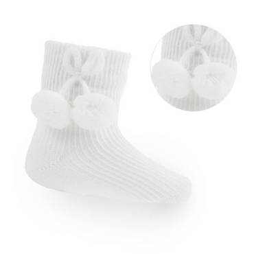 Baby Pom Pom Ankle Socks in White