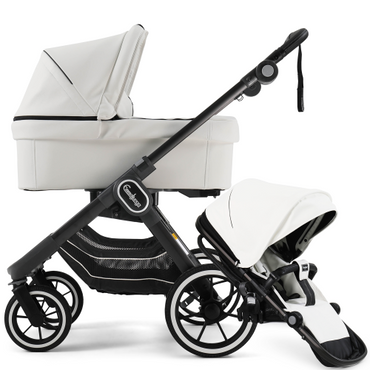 EmmalJunga NXT 90 White Leatherette Pushchair and Carrycot Package 2 in 1
