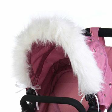 Dolls Pram Hood Fur Trim in White - Faux Fur