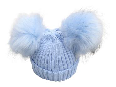 Blue Faux Fur Baby Hat 2 Pom Poms