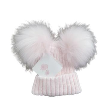 Baby Girls Soft Pink Double Pom Pom Hat