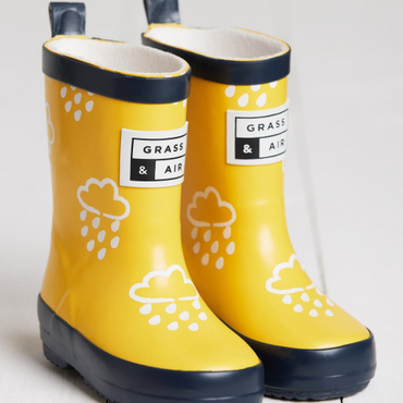 grass and air yellow wellies infant baby