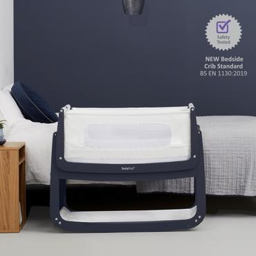 snuzpod 4 navy bedside crib - new 2020 snuzpod