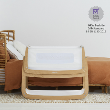SnuzPod 4 Natural Wood Bedside Crib - New 2020 Snuz Pod 4