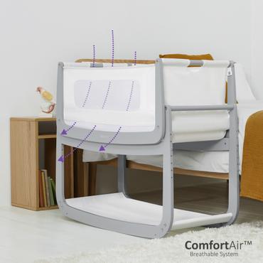 SnuzPod 4 Dove Grey Bedside Crib - New 2020 Snuz Pod 4