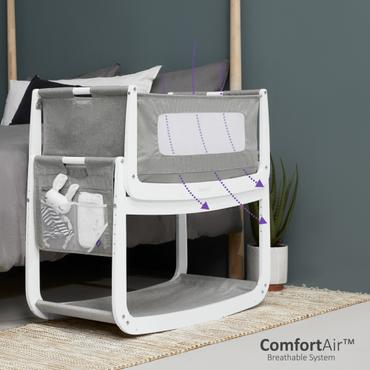 SnuzPod 4 Dusk Grey Bedside Crib - New 2020 Snuz Pod 4