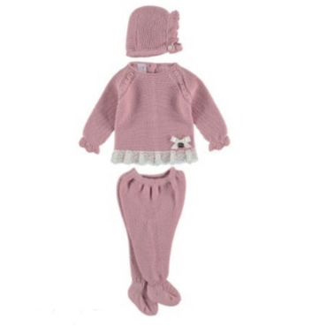 Juliana Dusky Pink Knitted Baby Girls Set with Bonnet