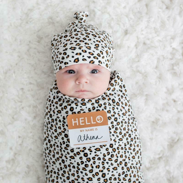 Baby Girls Bamboo Hat & Swaddle Set in Leopard Print