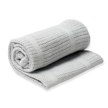 LuluJo Grey Knitted Cellular Extra Large Blanket