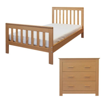 2 Piece Junior Bed Set with Dresser – In Oak