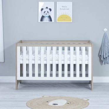 Babymore Veni Oak White Cot Bed - Modern Cot Bed - Free UK Shipping