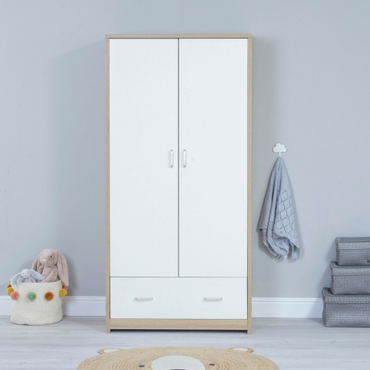 BabyMore Luno Veni Wardrobe in Oak and White