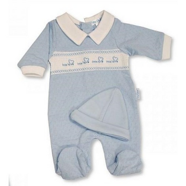 Premature Baby Boys smocked Set with hearts in Blue