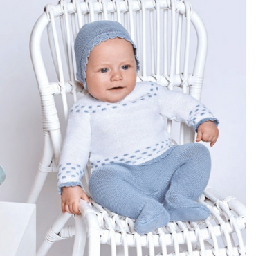 Juliana 2021 Knitted Blue and White Baby Boys Set