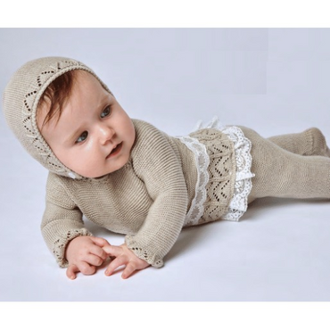 Juliana 2021 Knitted Baby Unisex Beige 3 Piece Set