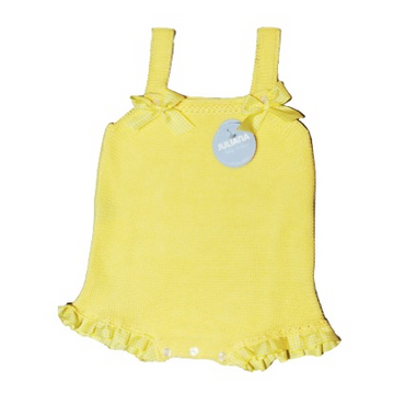 Juliana 2021 Baby Girls Knitted Dungarees in Lemon