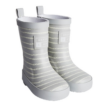 grass + Air infant wellies stripe grey