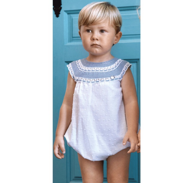 Juliana 2021 White and Blue Knitted Top Romper