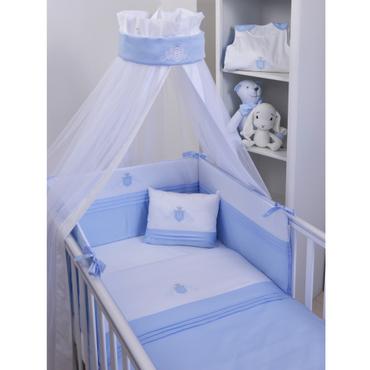 Baby Oliver Italian Satin Cotton Swarovski Elements Royal Crested Blue Bedding