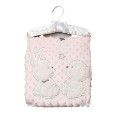 Bunny & Bear Pink Bubble Blanket