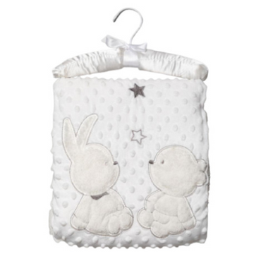 Bunny & Bear White Bubble Blanket