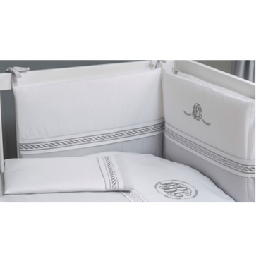 grey and white nursery cot bedding
