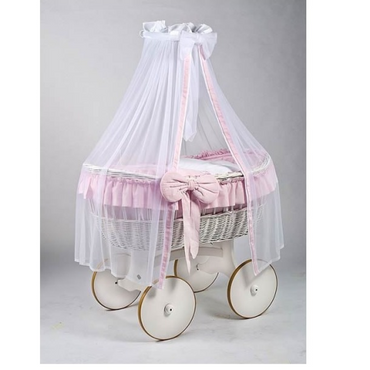MJ Marks Ophelia White and Pink Wicker Crib with Drapes