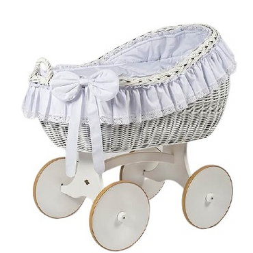 MJ Marks Bianca White and White Wicker Crib with Lace Bedding