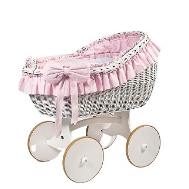 MJ Marks Bianca White and Pink Wicker Crib with Bedding