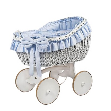 MJ Marks Bianca White and Blue Wicker Crib with Bedding