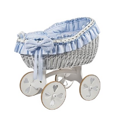 MJ Marks Bianca White and Blue Wicker Crib with Bedding - Heart Wheels