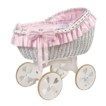 MJ Marks Bianca Pink and White Wicker Crib with Bedding - Heart Wheels