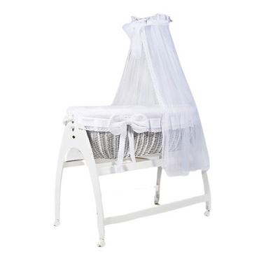 MJ Marks Miranda White Lace Wicker Swinging Crib with Drapes